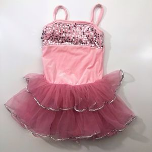 Pink Leotard tutu skirt silver sequins 4-5